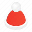 cap, decoration, hat, holiday, isometric, santa, xmas icon
