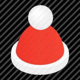 cap, decoration, hat, holiday, isometric, santa, xmas icon