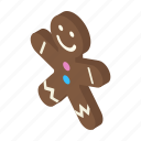 isometric, christmas, decoration, cookie, gingerbread, shadow, xmas