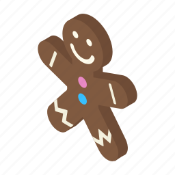 christmas, cookie, decoration, gingerbread, isometric, shadow, xmas icon