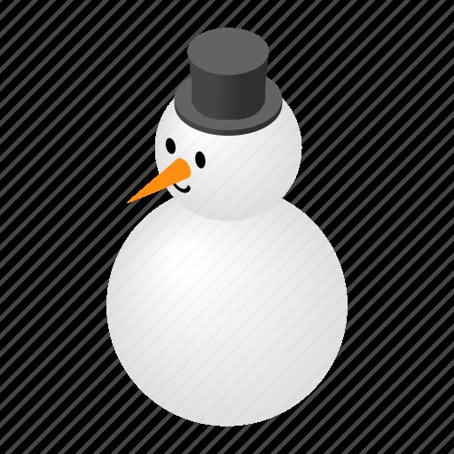 christmas, fun, happy, hat, isometric, snow, snowman icon