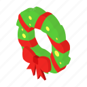 bow, box, christmas, gift, green, isometric, wreath icon