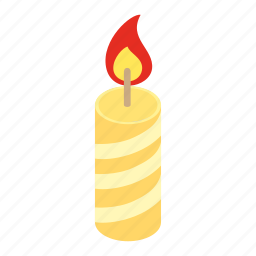 candle, christmas, decoration, glowing, holiday, isometric, wax icon