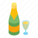 bottle, champagne, christmas, drink, glass, holiday, isometric icon