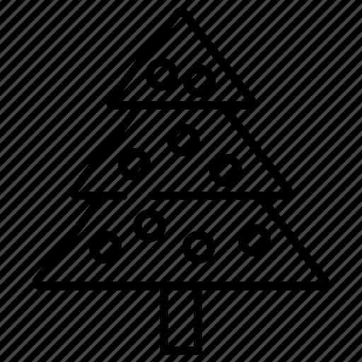 christmas, christmas tree, decoration, line, tree icon