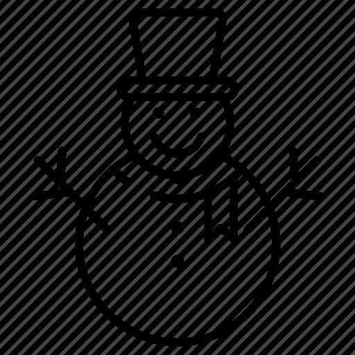 christmas, line, snow, snow man, winter icon