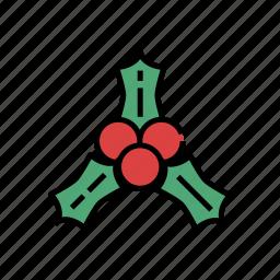 berry, christmas, fruit, holly, mistletoe, xmas icon