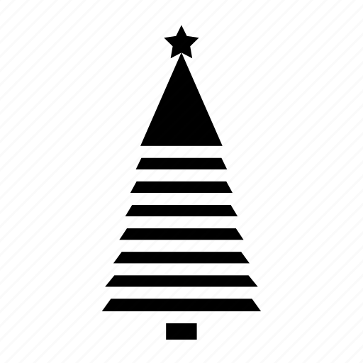 christmas, monochromic, silhouette, tree stripes icon