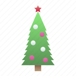 christmas, silhouette, tree icon