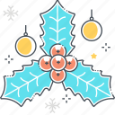 christmas, decoration, decorative, green, holly berry, leaf, plant icon