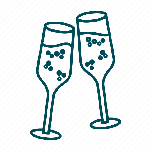 celebration, champagne, cheers, christmas, drink, glasses, new year icon