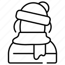 avatar, boy, snow, warm, weather, winter, winter clothes icon