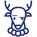 animal, christmas, deer, new year, xmas icon