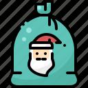 bag, christmas, claus, face, gift, santa, shopping