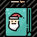 bag, christmas, claus, gift, santa, shopping, xmas