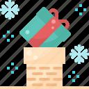 box, christmas, fireplace, gift, present, santa claus, send