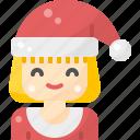 avatar, christmas, claus, girl, hat, santa, wear
