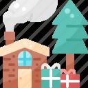 christmas, claus, gift, house, pine, santa, xmas