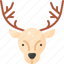 animal, christmas, deer, face, head, nature, reindeer icon