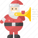 action, avatar, blow, claus, horn, santa, trumpeter