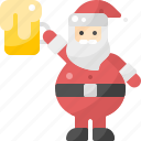 alcohol, beer, beverage, claus, drink, glass, santa