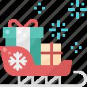box, christmas, claus, gift, santa, sleigh, xmas