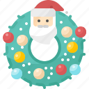 christmas, claus, decoration, ornament, santa, wreath, xmas