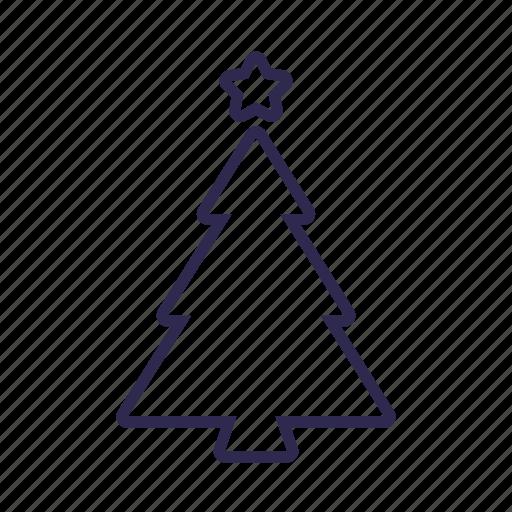 christmas, outline, star, tree icon