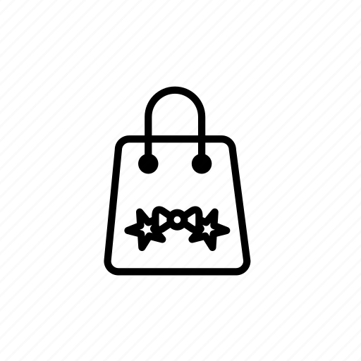 .svg, bow, shopping bag, star, winter, xmas icon