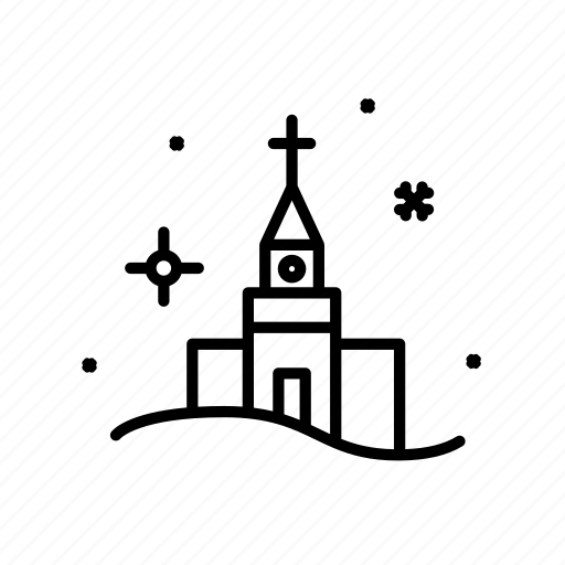 .svg, church, cross, fireworks, snow, snowflake icon