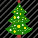 christmas, decoration, lights, pine, tree, xmas