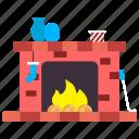 christmas, cosiness, fire, fireplace, fireside, gift