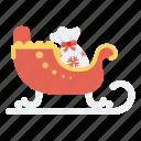 carriage, christmas, gift, santa, santa bag, sled icon, sleight icon
