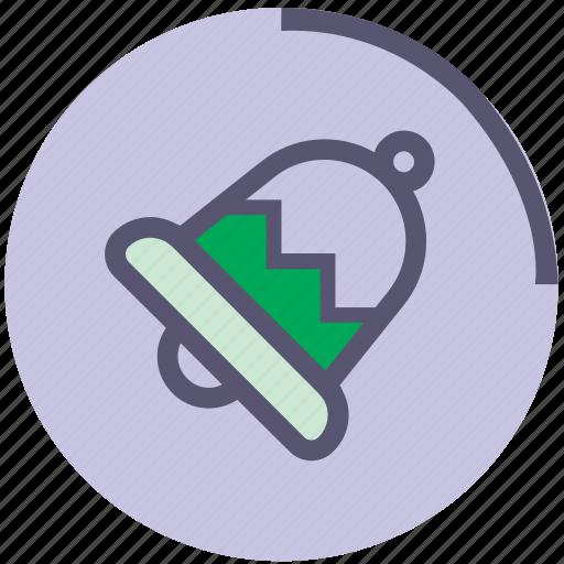 bell, green, metallic, ring, sound, violet icon