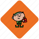 christmas, elf, present icon