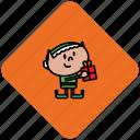 christmas, elf, present