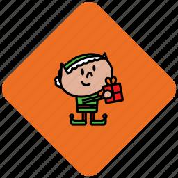 christmas, elf, present icon