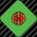 box, christmas, present, ribbon, round icon