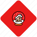 christmas, decoration, globe, snow, winter icon