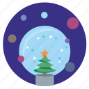 ball, christmas, fir, glass, snow icon