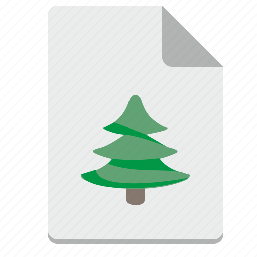 christmas, fir, list, paper, plant, print, tree icon