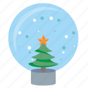 ball, fir, glass, snow, tree