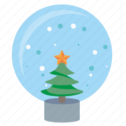 ball, fir, glass, snow, tree icon