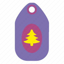 christmas, fir, price, tag, tree icon