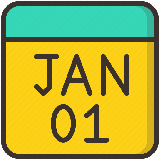calendar, celebration, date, day, january, month, new year icon