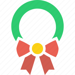 bow, christmas, decoration, gift, leaf, present, wreath icon