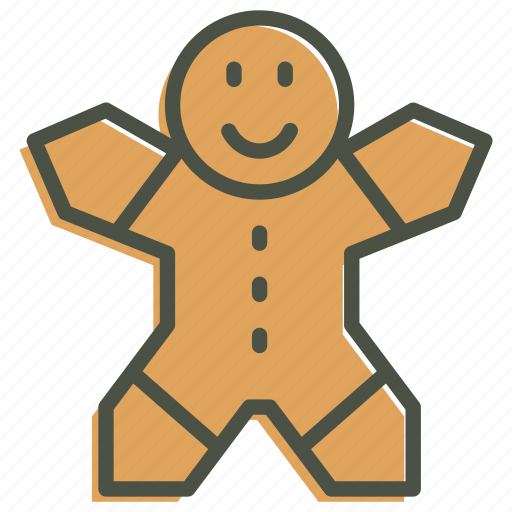 christmas, cookie, gingerbread, man, new year icon