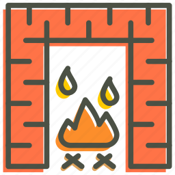 christmas, fire, fireplace, warm, winter icon