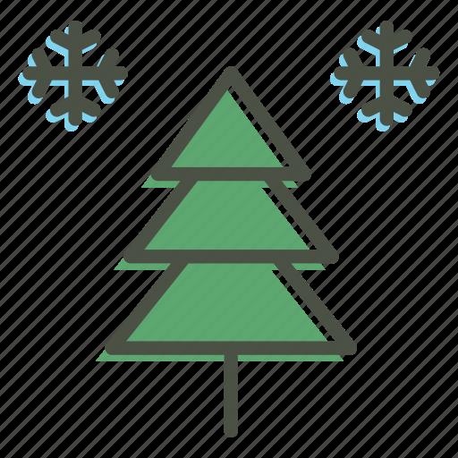 celebration, christmas, decoration, new year, snow, tree, winter icon