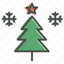 celebration, christmas, decoration, snowflake, star, tree, winter icon